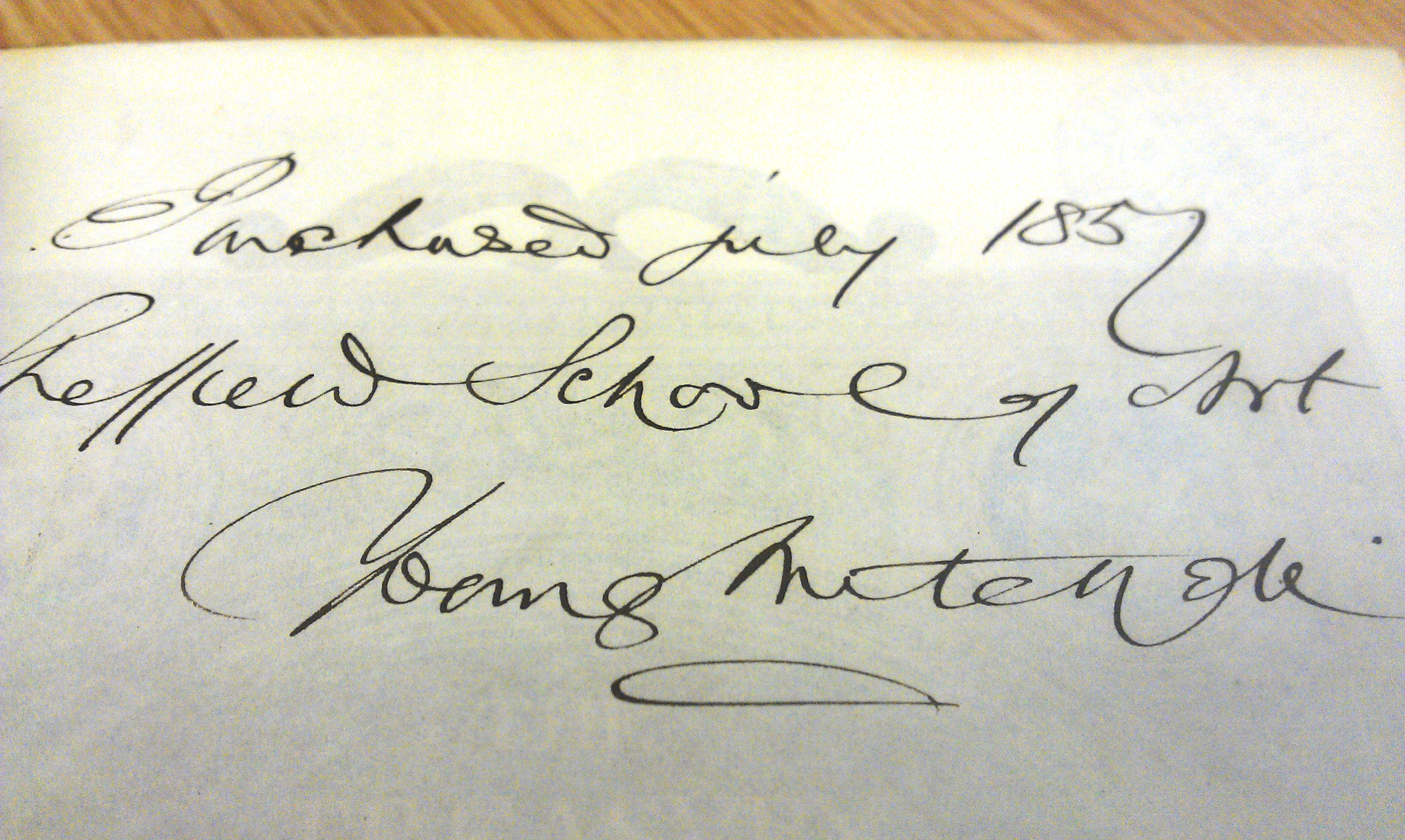 Young Mitchells signature in The Treasury of ornamental art by J.C. Robinson