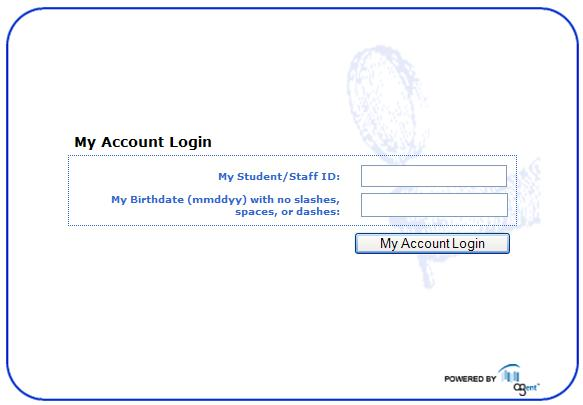 My Account Login Page