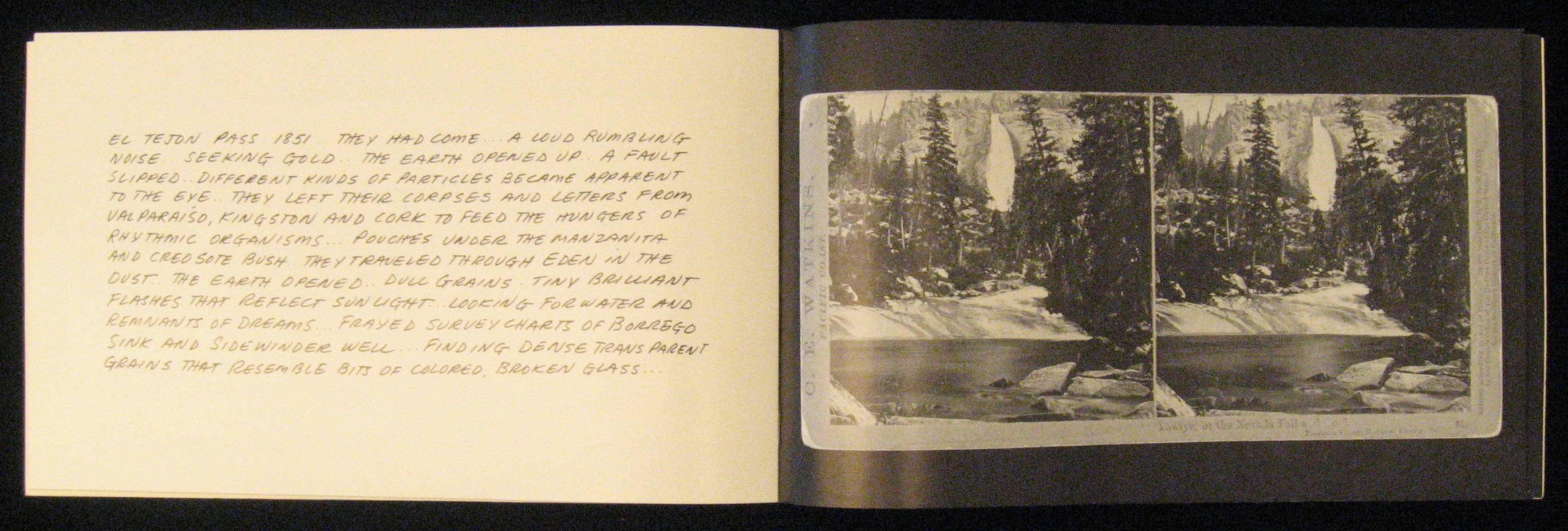 Page spread with text on the verso side and a black and white photo on the recto.