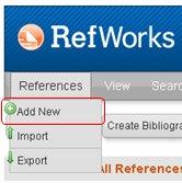schermopname RefWorks scrolldown menu onder References