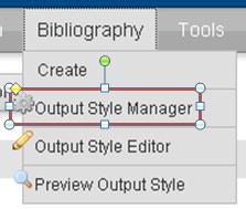 schermopname RefWorks knop Bibliography