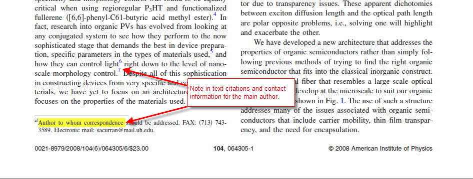 image of the text of a journal article, pointing to the in-text citations and use of foot notes. Also shows the common location for contact information for the original author.