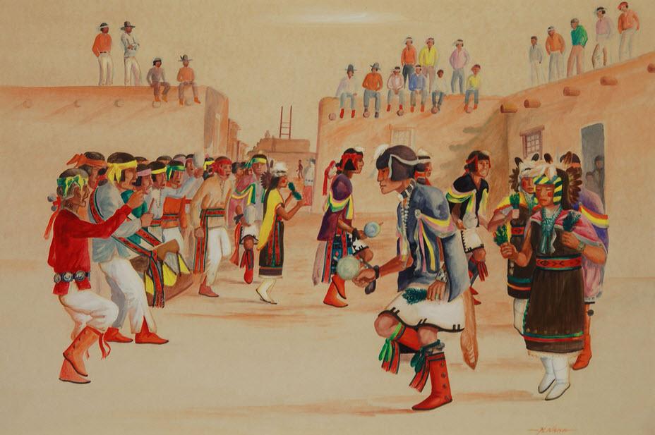 Painting of a Hopi-Tewa Plaza Dance by Raymond Naha (1933-1975)