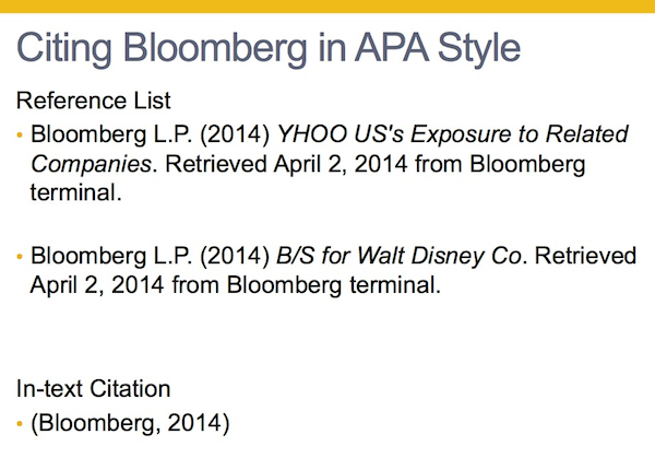 Citing the Bloomberg in APA