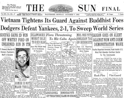 Front Page of the Baltimore Sun, 1963