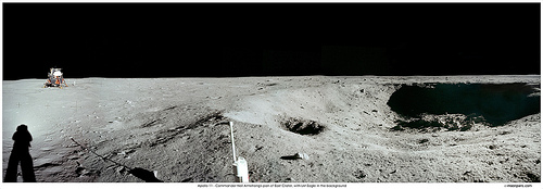 Panoramic view of lunar landscape.
