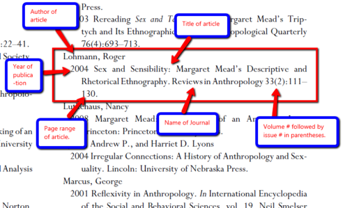 A labeled diagram of an AAA citation for a journal article