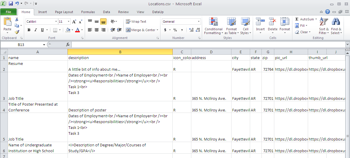 Image of sample Excel spreadsheet that includes HTML formatting