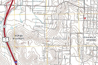 Close Up of University of Arkansas area on Fayetteville topographic map.