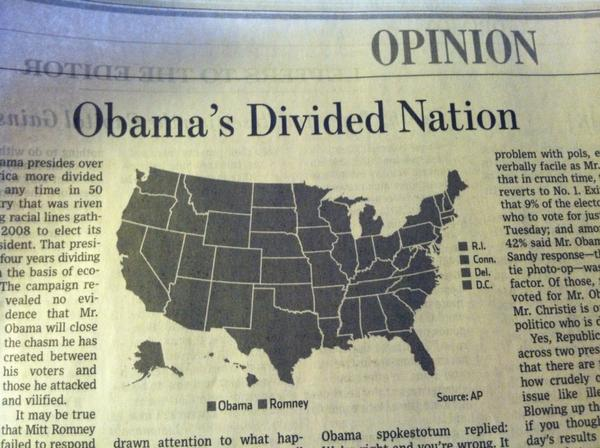 A map gone bad when printed. The map, entitled Obama's Divided Nation, appears in a monochrome black.
