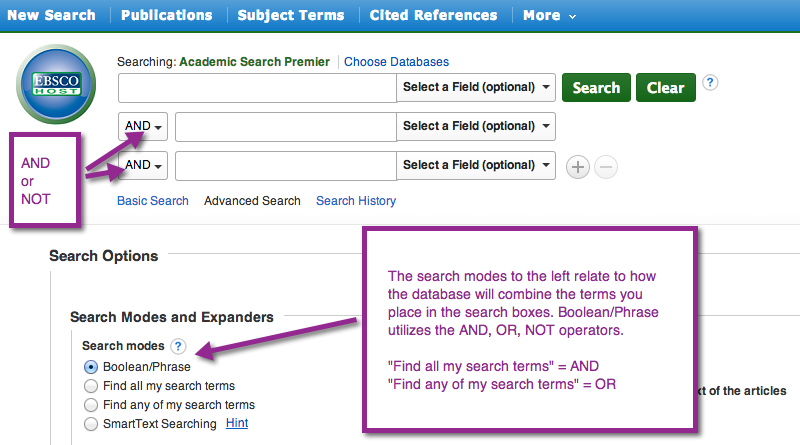 EBSCO search modes