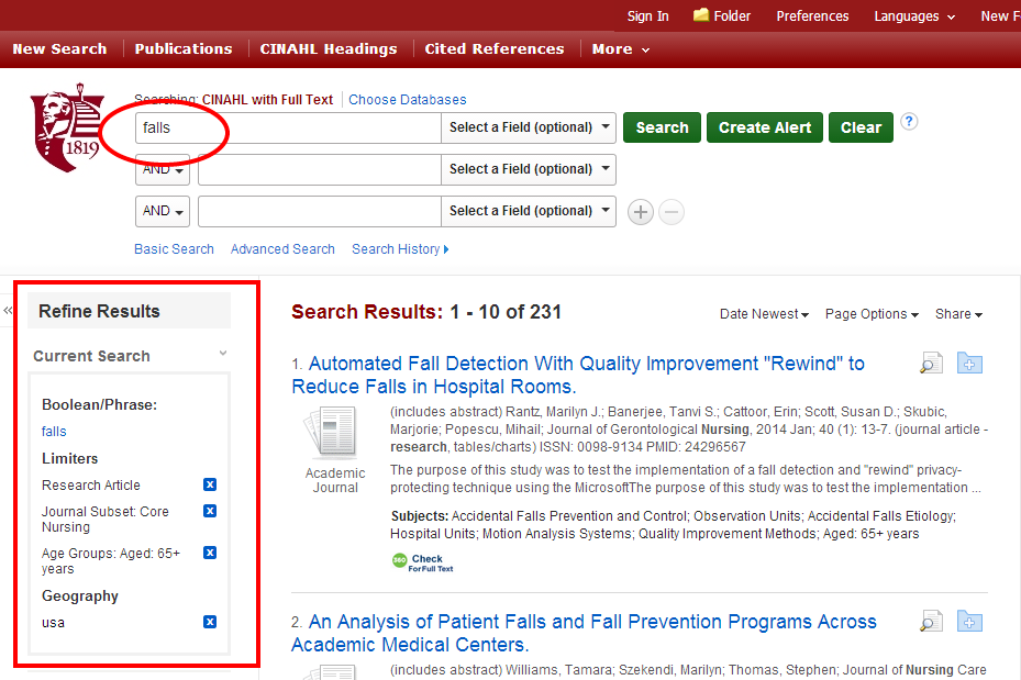 keyword search for falls with limiters applied
