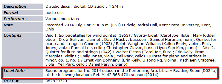 """Note states """"Bound programs for the 2014 season in the Performing Arts Library Reading Room (D-024A) at the following location: Ref. ML42.B66 47th season (2014)"""""""