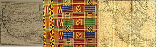 two maps and Kente cloth