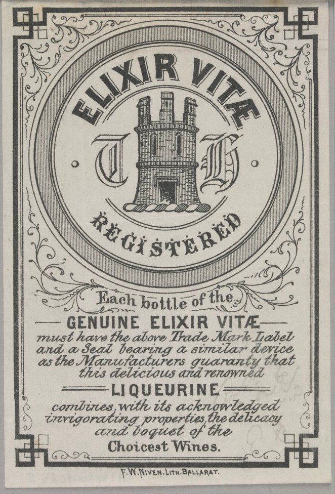 Elixir vitae. Victorian Patents Office Copyright Collection