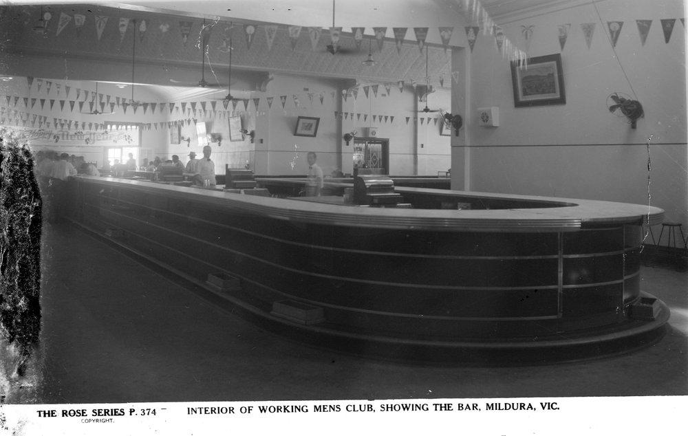 Interior of Working Mens Club, showing the bar, Mildura, Victoria