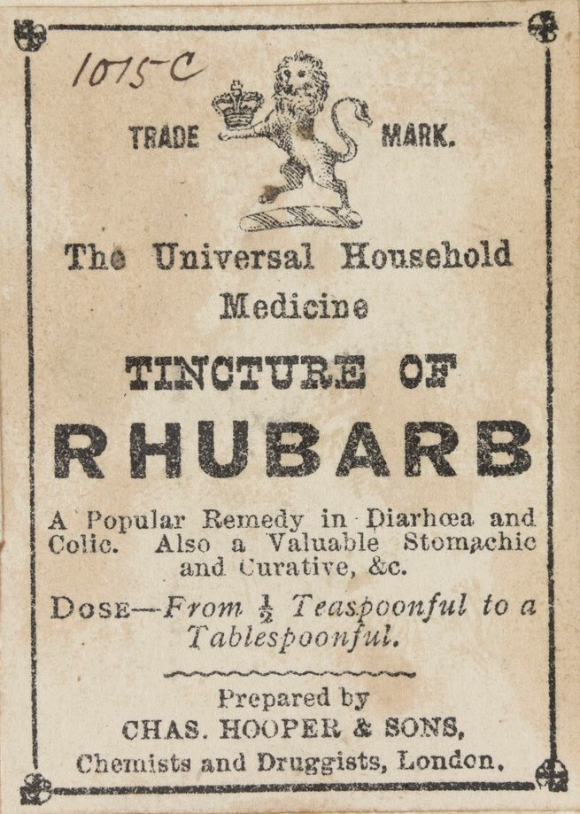 Tincture of rhubarb. Charles Troedel. Victorian Patents Office Copyright Collection