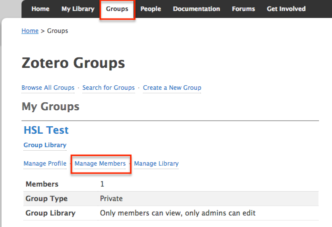 On Zotero's website, go to Groups then Manage Members to add or remove group members