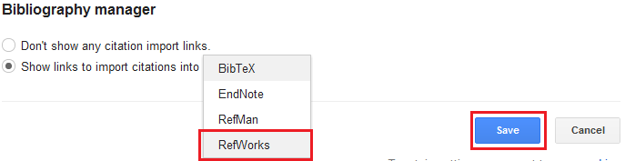 Select Import to RefWorks