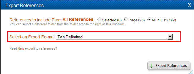 Selecting tab delimited as an export format