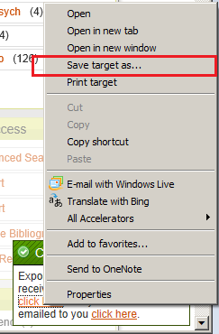 Saving the tab delimited results in Internet Explorer