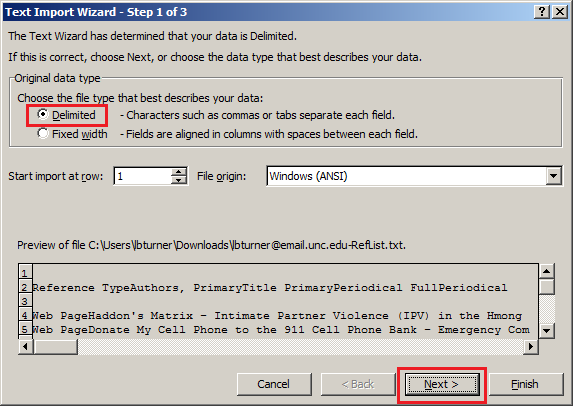 Importing tab delimited data in Microsoft Excel by selecting Delimited and clicking Next