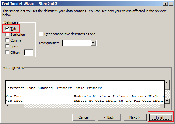 Selecting the tab delimited data type in Microsoft Excel