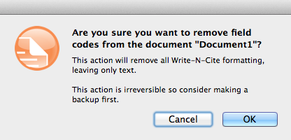 Removing field codes in a Write-N-Cite formatted document on a Mac