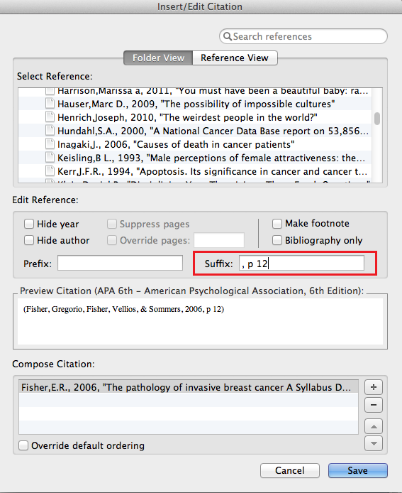 Adding page numbers using Write-N-Cite for a Mac