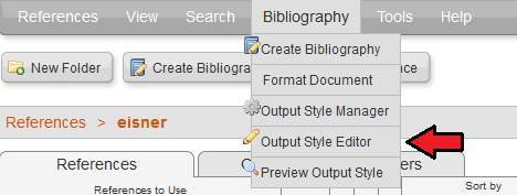 Selecting Output Style Editor in RefWorks under the Bibliography option