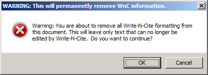 Removing field codes in a Write-N-Cite formated document on a PC