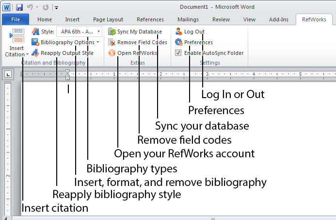 The Write-N-Cite toolbar in Microsoft Word on PC