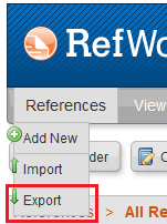 Beginning to export RefWorks references by clicking on References in the menu and then Export