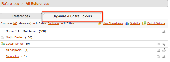 Clicking on Organize and Share Folders in your RefWorks screen to be able to export references by folder