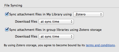 Changing your sync preferences in Zotero under preferences and sync