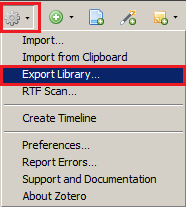 Selecting Gear Icon then Export Library in Zotero to export your citations