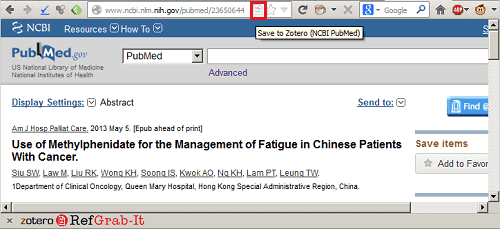 Recognized database icon in Zotero, taken from PubMed
