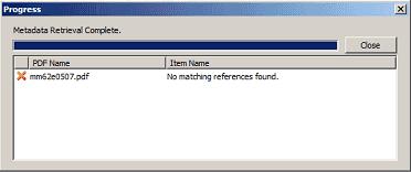 Failure to retrieve Metadata from a PDF window in Zotero