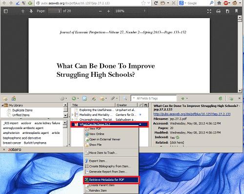 Retrieving Metadata from a PDF