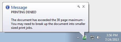 Printing denied 30 page max exceeded