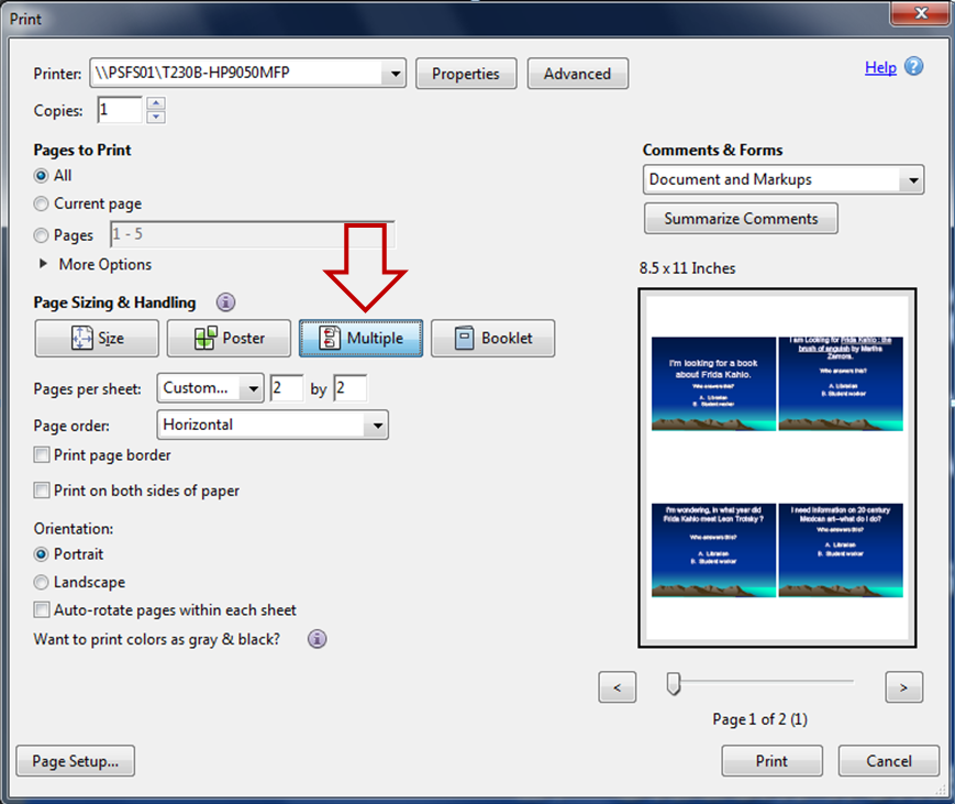 Screenshot showing how to print multiple slides per page in a PDF