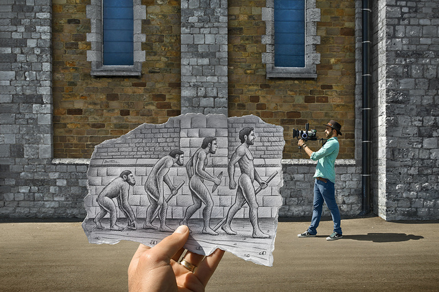Image of Man evolving superimposed on image of man filming a scene
