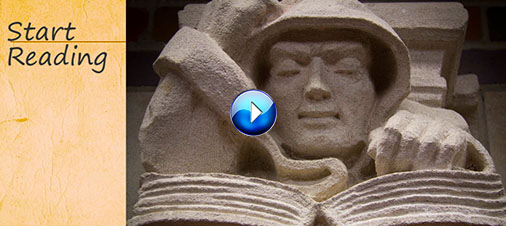 Image: Screenshot from tutorial of a statue of a monk reading (linked)