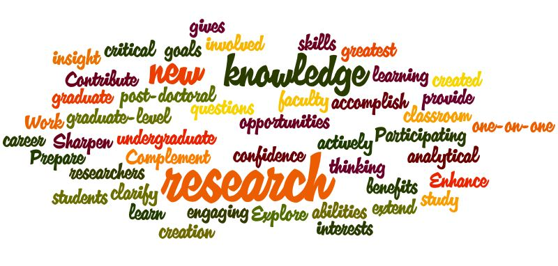 word cloud of research-related words