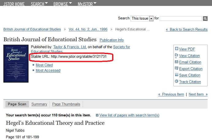 JSTOR stable URL image