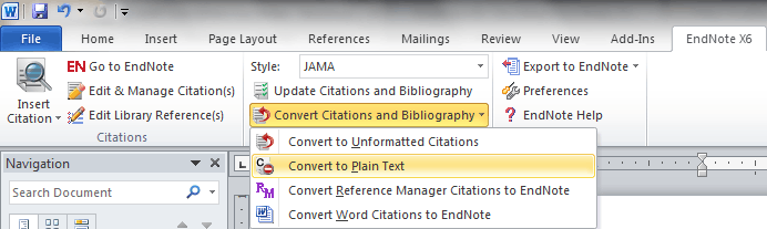 Convert Citations and Bibliography