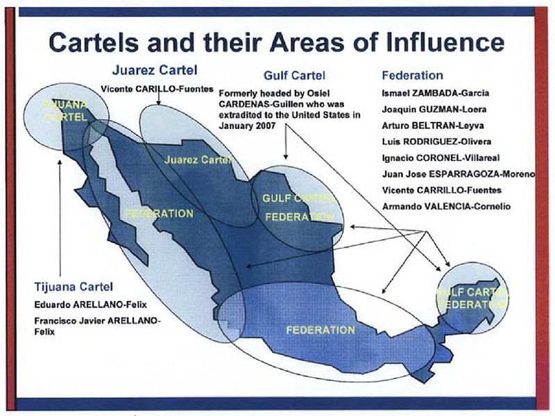 Map of Mexico showing areas influenced by the Juarez, Gulf, and Tijuana Cartels, spanning from Northwest to Southeast Mexico.