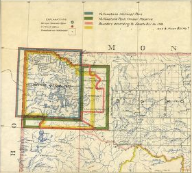 Part of a yellowed map of Northwestern Montana, showing current and proposed boundaries of Yellowstone using 4 different colored shapes laid over one another.