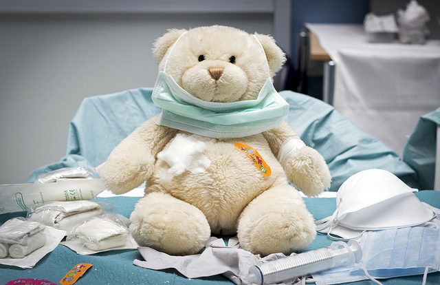 Image of a stuffed teddy bear with bandages