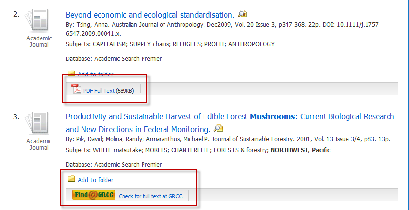 This image shows two listings, or results, in the database search. The first has a PDF logo next to it showing it is in full text. The second is not available.